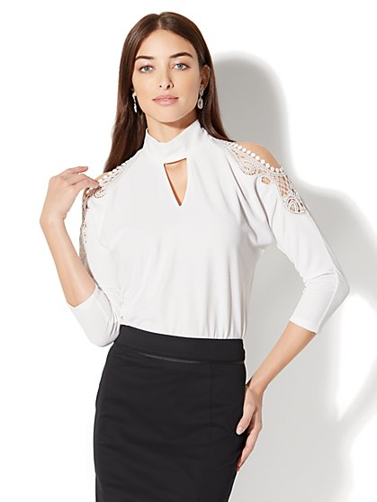 7th Avenue Cold-Shoulder Top - New York & Company