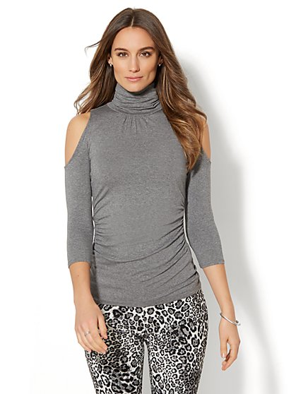 7th Avenue - Cold-Shoulder Turtleneck - Heather Grey - New York & Company