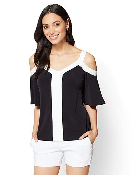7th Avenue - Cold-Shoulder V-Neck Top - Black - New York & Company