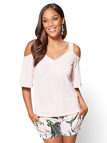 7th Avenue - Cold-Shoulder V-Neck Top - Pink - New York & Company