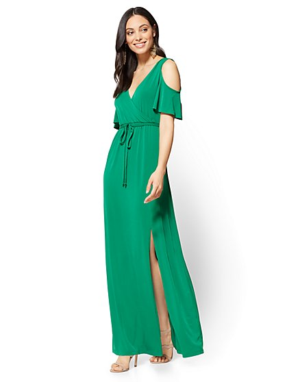 7th Avenue Cold-Shoulder Wrap Maxi Dress - New York & Company