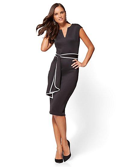 7th Avenue Contrast-Belt Sheath Dress  - New York & Company