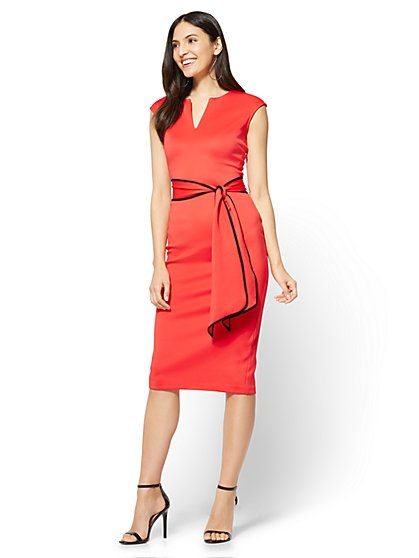 7th Avenue Contrast-Belt Sheath Dress  - New York & Company