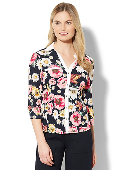 7th Avenue - Contrast-Trim Blouse - Floral Print - New York & Company
