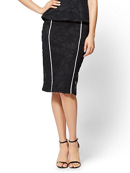 7th Avenue - Contrast-Trim Lace Pencil Skirt - New York & Company
