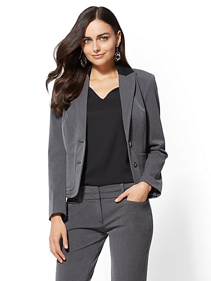 7th Avenue - Contrast-Trim One-Button Jacket - Heather Grey - New York & Company