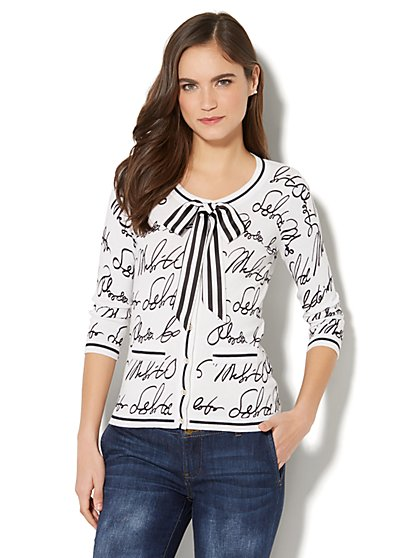 7th Avenue - Crewneck Chelsea Cardigan - Script Print - New York & Company