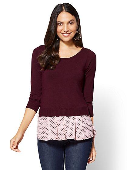 7th Avenue - Crewneck Twofer Sweater - Dot Print - New York & Company