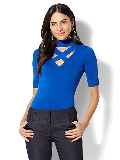 7th Avenue - Crisscross Mock-Neck Sweater - New York & Company