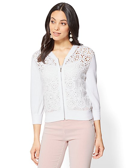7th Avenue - Crochet Bomber Jacket - New York & Company