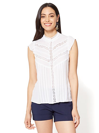 7th Avenue - Crochet Mock-Neck Blouse - New York & Company