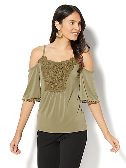 7th Avenue - Crochet-Trim Cold-Shoulder Top - New York & Company
