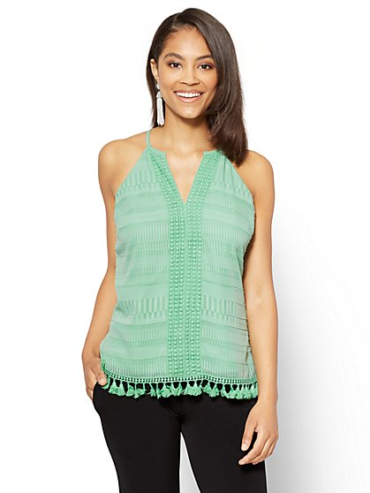 7th Avenue - Crochet-Trim & Tassel Accent Halter Blouse - New York & Company