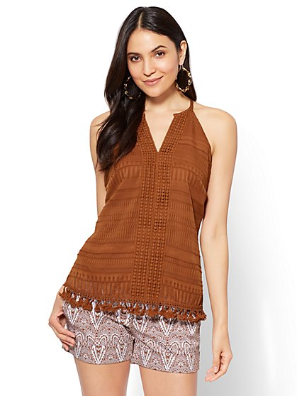7th Avenue - Crochet-Trim & Tassel Accent Halter Blouse - New York & Company