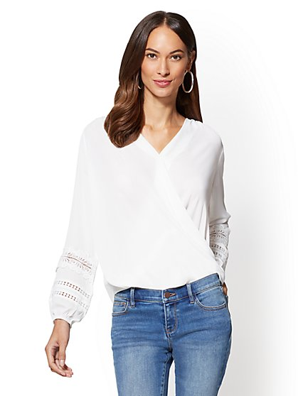 7th Avenue - Crochet-Trim Wrap Blouse - New York & Company