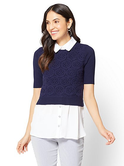 7th Avenue - Crochet Twofer Top - Petite - New York & Company