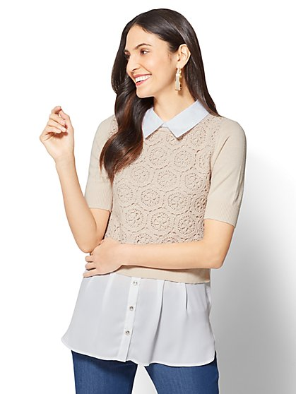 7th Avenue - Crochet Twofer Top - Tall - New York & Company