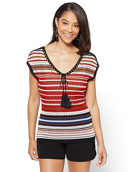 7th Avenue - Crochet V-Neck Top - Stripe - New York & Company