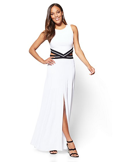 7th Avenue Cutout Maxi Dress - White - New York & Company