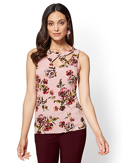 7th Avenue - Cutout Shell - Floral - New York & Company