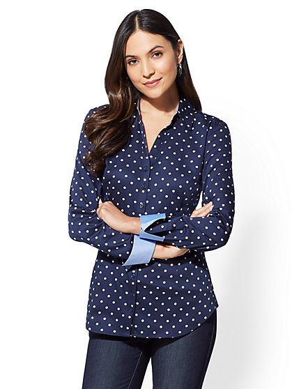 7th Avenue - Dot-Print Madison Stretch Shirt - New York & Company