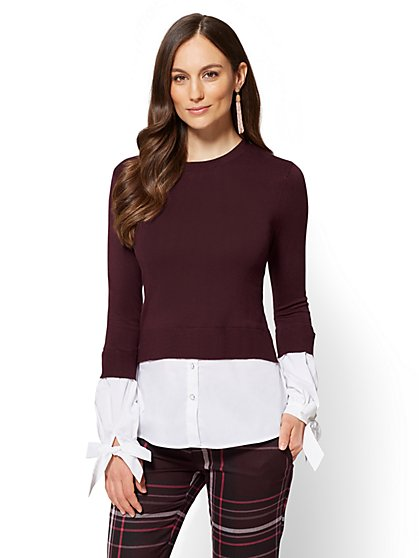 7th Avenue - Dramatic-Sleeve Twofer Sweater  - New York & Company