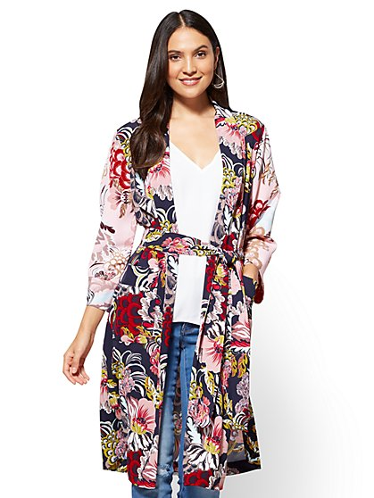 7th Avenue - Duster Jacket - Navy Floral - New York & Company