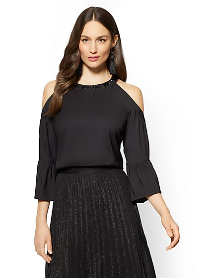 7th Avenue - Embellished Cold-Shoulder Halter Blouse - New York & Company