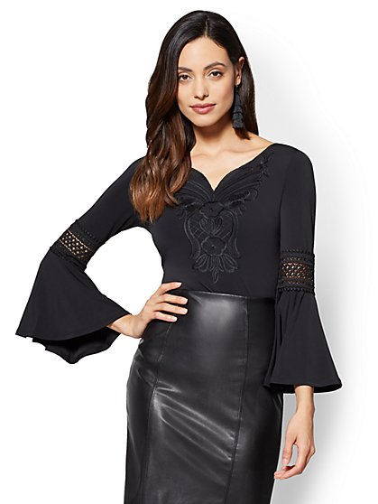 7th Avenue - Embroidered Bell-Sleeve Blouse - New York & Company