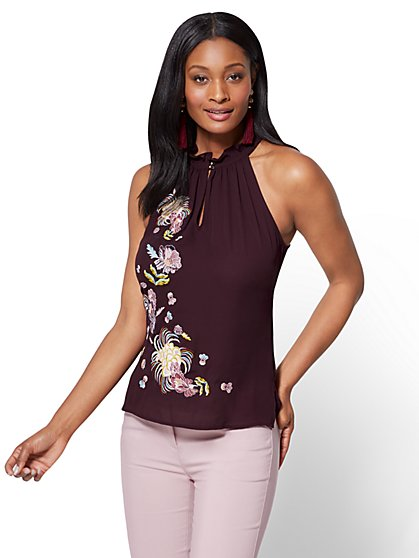 7th Avenue - Embroidered Halter Blouse - Burgundy - New York & Company