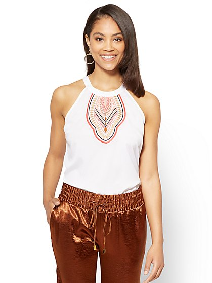 7th Avenue - Embroidered Halter Blouse - New York & Company