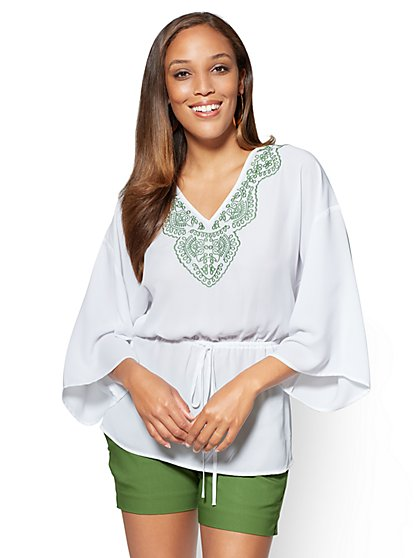 7th Avenue - Embroidered Kimono Blouse - White - New York & Company
