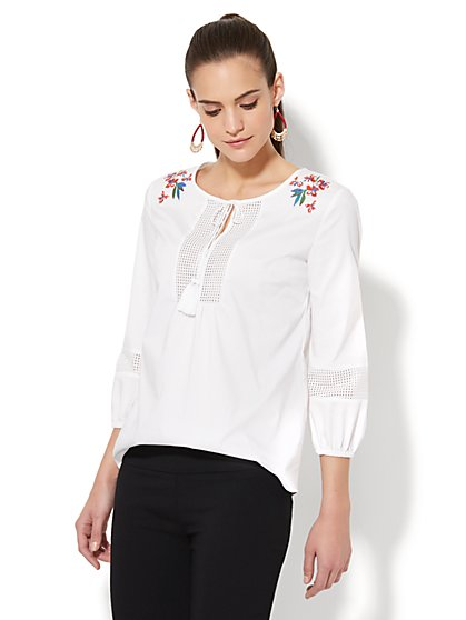 7th Avenue - Embroidered Peasant Blouse - White - New York & Company