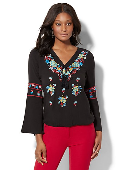 7th Avenue - Embroidered Peasant Blouse - New York & Company