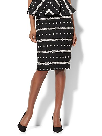7th Avenue - Embroidered Pencil Skirt - Black - New York & Company