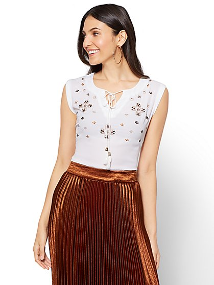 7th Avenue - Embroidered Tassel-Accent Top - New York & Company