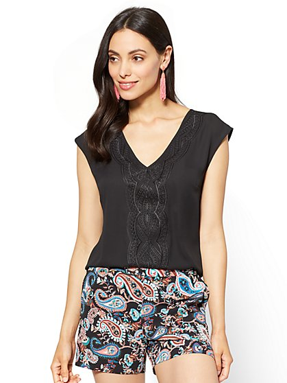 7th Avenue - Embroidered V-Neck Blouse - New York & Company