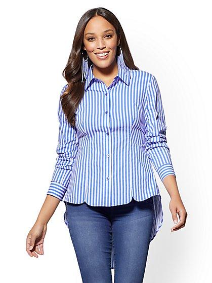 7th Avenue - Extreme Hi-Lo Poplin Shirt - Stripe - New York & Company