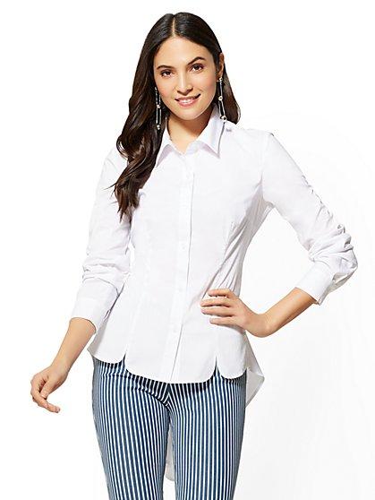 7th Avenue - Extreme Hi-Lo Poplin Shirt - New York & Company
