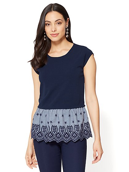 7th Avenue - Eyelet-Trim Peplum Twofer - New York & Company