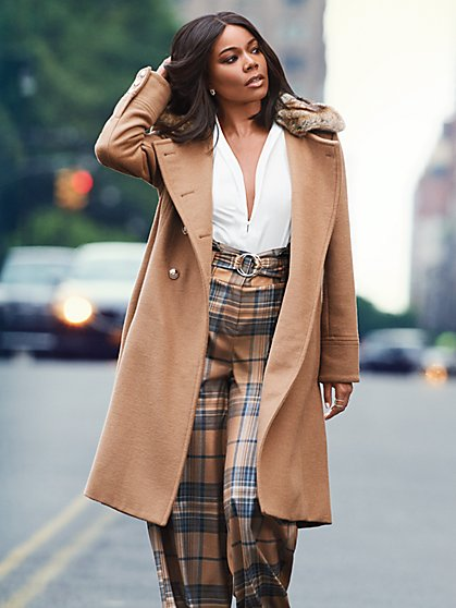 7th Avenue - Faux-Fur Trim Wool Coat  - New York & Company