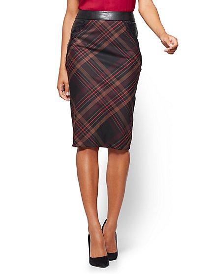 7th Avenue - Faux-Leather & Lace Trim Pencil Skirt - Plaid  - New York & Company