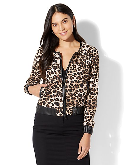 7th Avenue - Faux-Leather Trim Bomber Jacket - Leopard Print - New York & Company