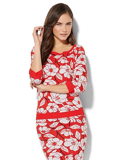 7th Avenue - Floral Intarsia-Knit Sweater - New York & Company
