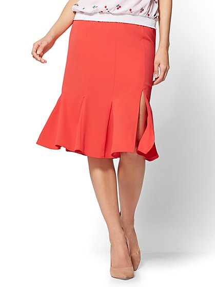 7th Avenue - Flounce Pencil Skirt - Red - New York & Company