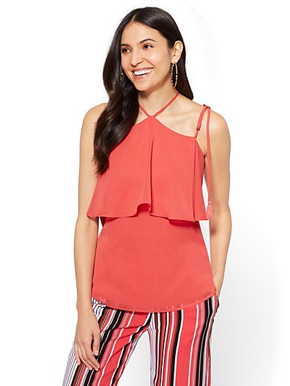 7th Avenue - Flounced Cold-Shoulder Blouse - New York & Company