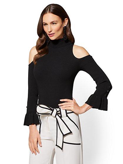 7th Avenue - Flounced-Cuff Cold-Shoulder Sweater - New York & Company