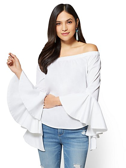 7th Avenue - Flounced Off-The-Shoulder Shirt - Drama Sleeve - New York & Company