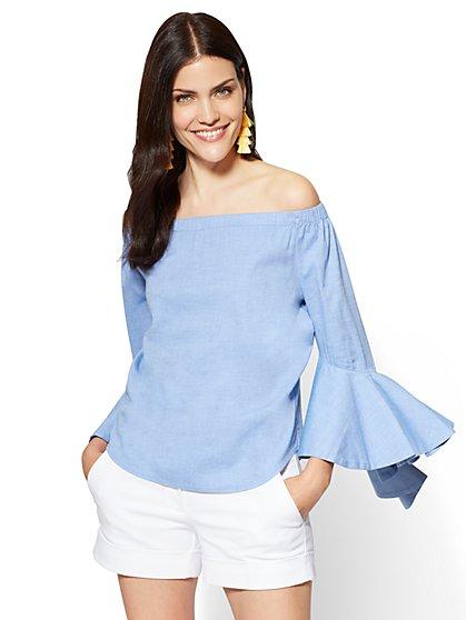 7th Avenue - Flounced Off-The-Shoulder Shirt - New York & Company