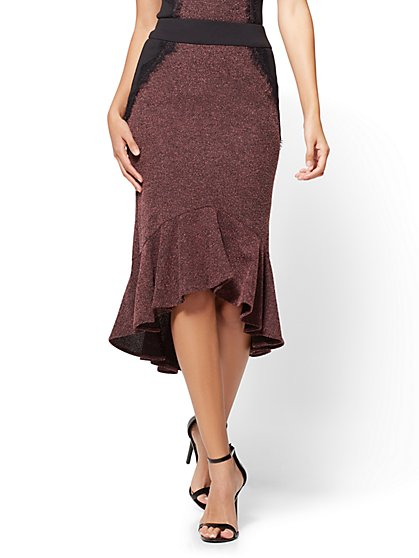 7th Avenue - Flounced Pull-On Pencil Skirt - Burgundy  - New York & Company